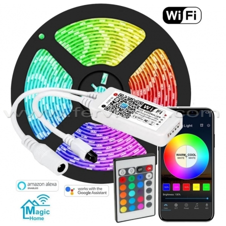 Kit Cinta LED RGB + Controlador Wifi + Adaptador