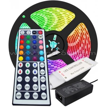 Kit Cinta LED RGB + Controlador + Adaptador