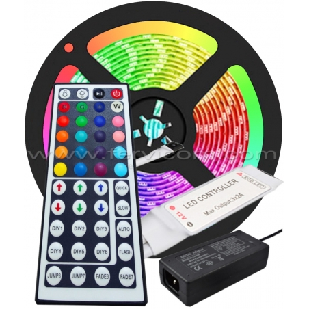 Mini Kit Cinta LED RGB + Controlador + Adaptador