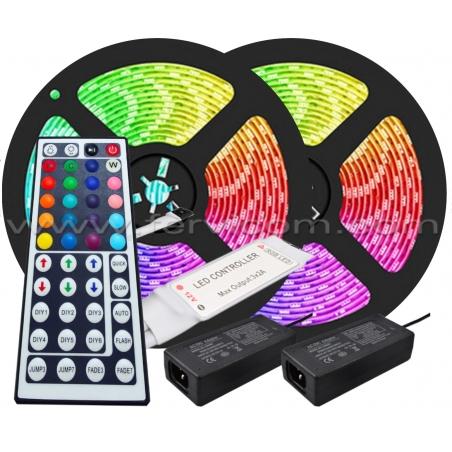 Kit 10mts Cinta LED RGB + Controlador + Adaptador