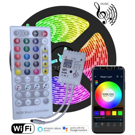 Kit 5mt Cinta LED RGB Musical + Wifi